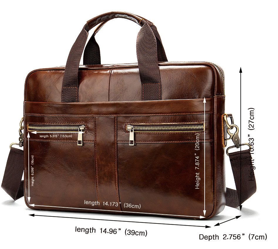 Genuine real Leather Briefcase hand bag man 13 laptop 14 Business laptop brown