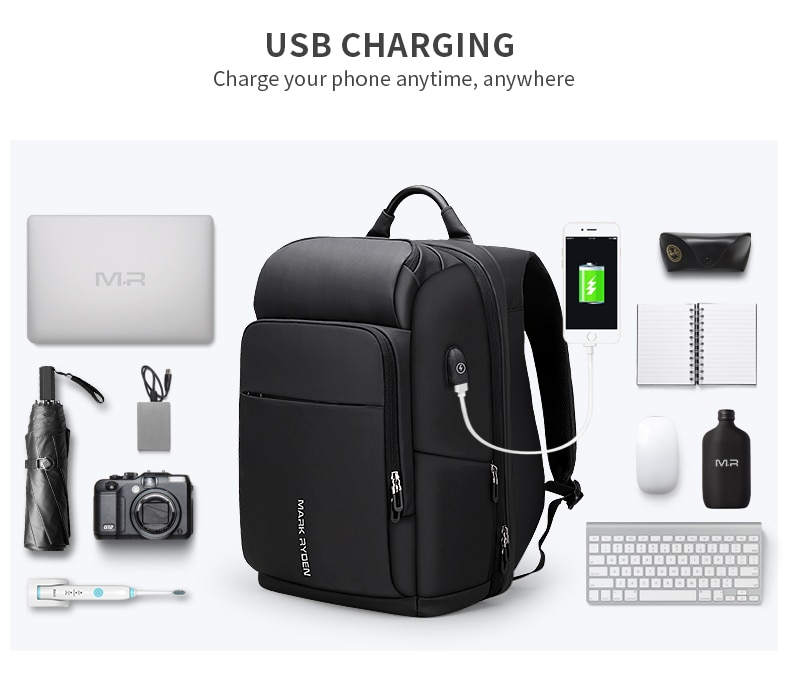 Multifunctional large capacity backpack with USB charging.