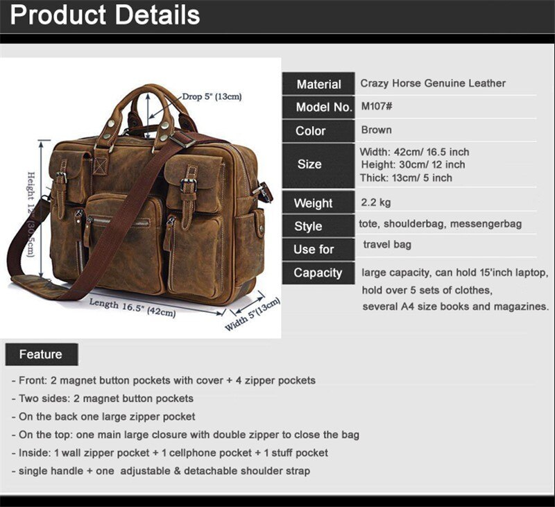 Vintage crazy horse genuine leather hand luggage for men