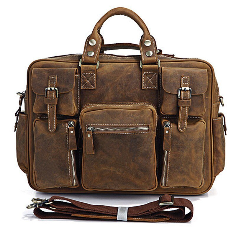 Vintage genuine leather hand luggage for men