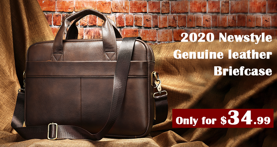 Genuine leather briefcase for business men.