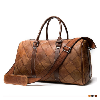 Beautiful travel bag with great exquisite decoration on seams, it has a retro vintage design.