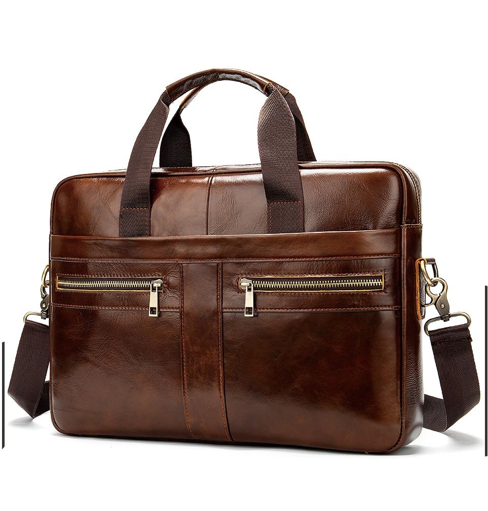 Genuine leather attaché case for men.