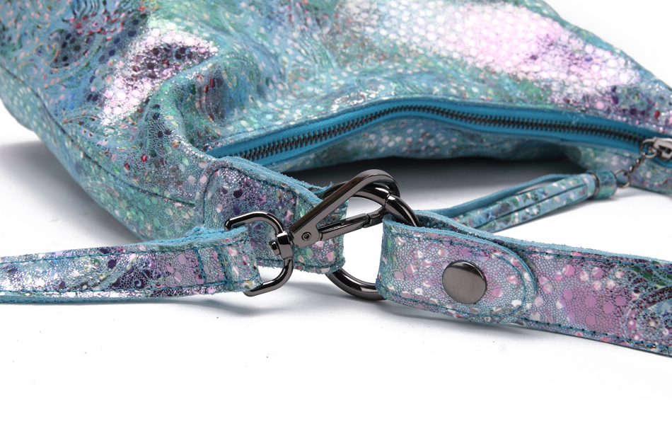 Shining natural print leather shoulder bag with a peacock motif.