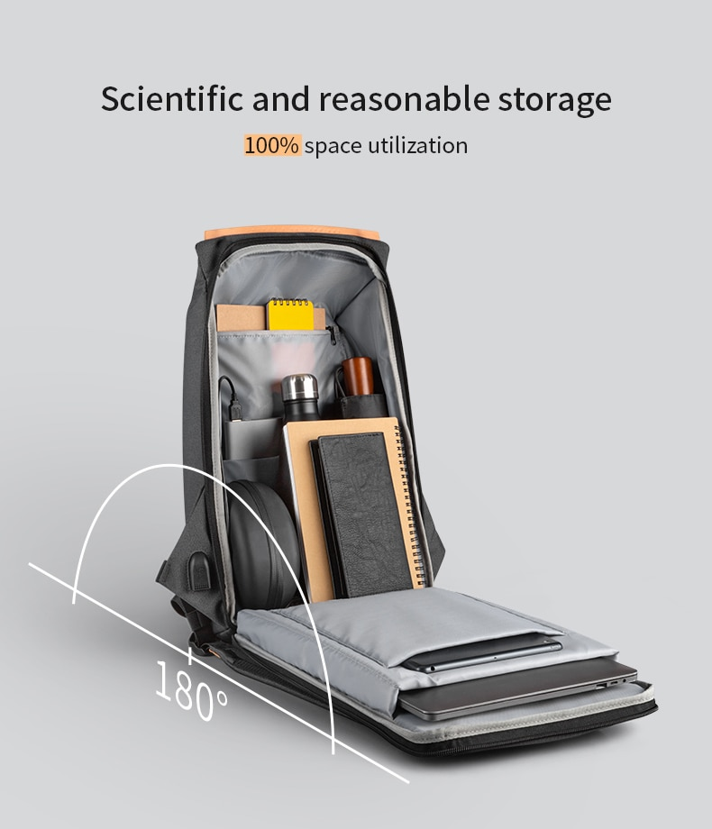 Backpack with smart design, waterproof anti-theft with USB charging.