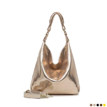 Hobo bag made of high-gloss natural leather 2020.